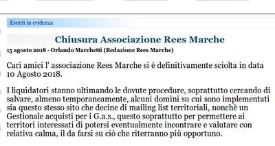 Chiusura Associazione Rees Marche